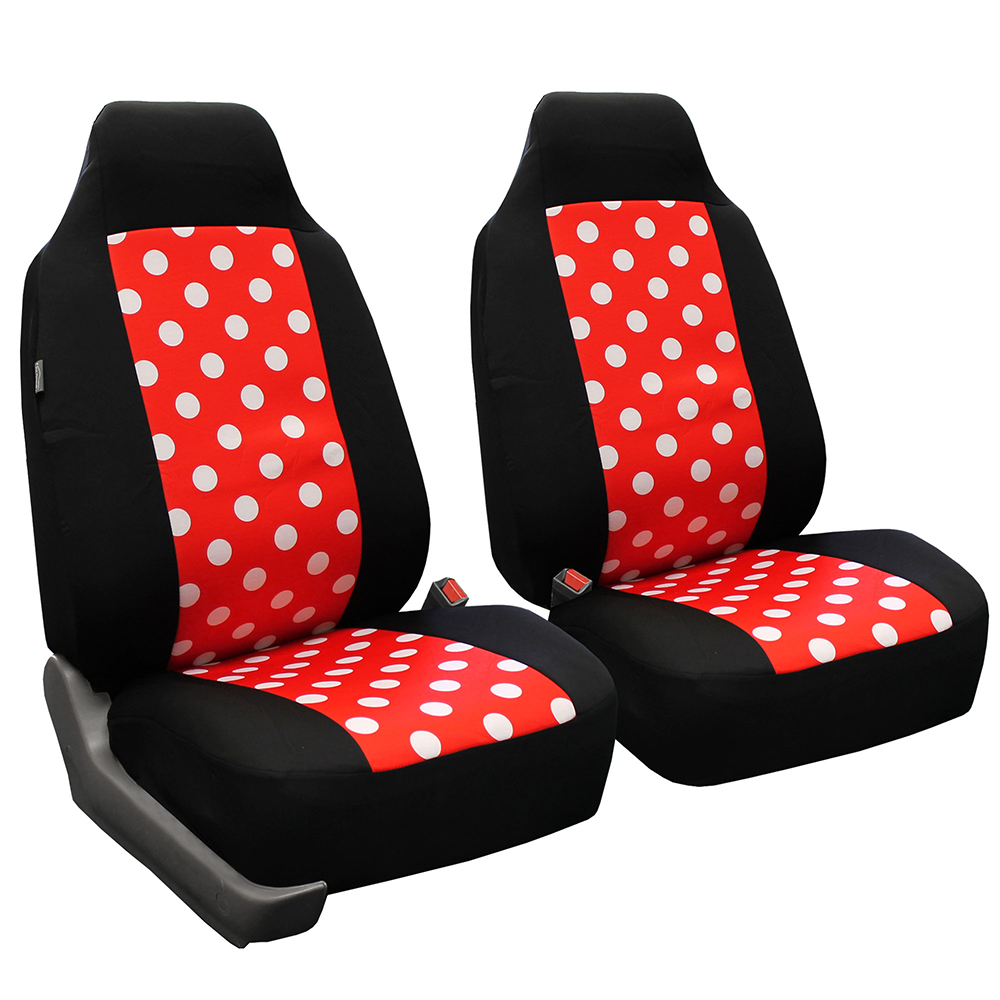 FH Group Stylish Polka Dot Front High Back Car Truck SUV Bucket Seat Cover, Pair, Red and Black