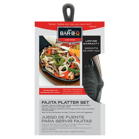 Image of Mr. Bar-B-Q Cast Iron Ribbed Fajita Platter Set