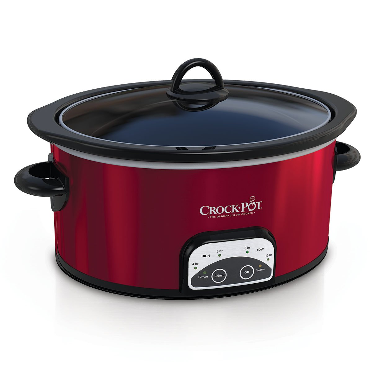 Crock-Pot 4 Quart Oval Cook and Carry Kitchen Programmable Slow Cooker, Red
