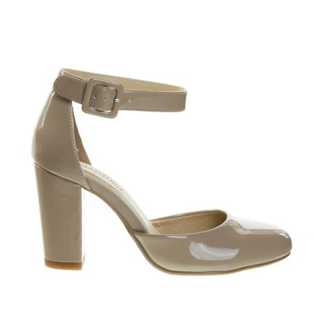 Kaili by City Classified, Chunky Block Heel Dress Pump w Comfortable Foam Padding & Ankle Strap