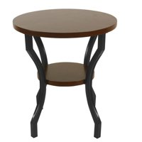 HomePop Small Round Wood and Metal Accent Table - Dark Walnut and Ebony
