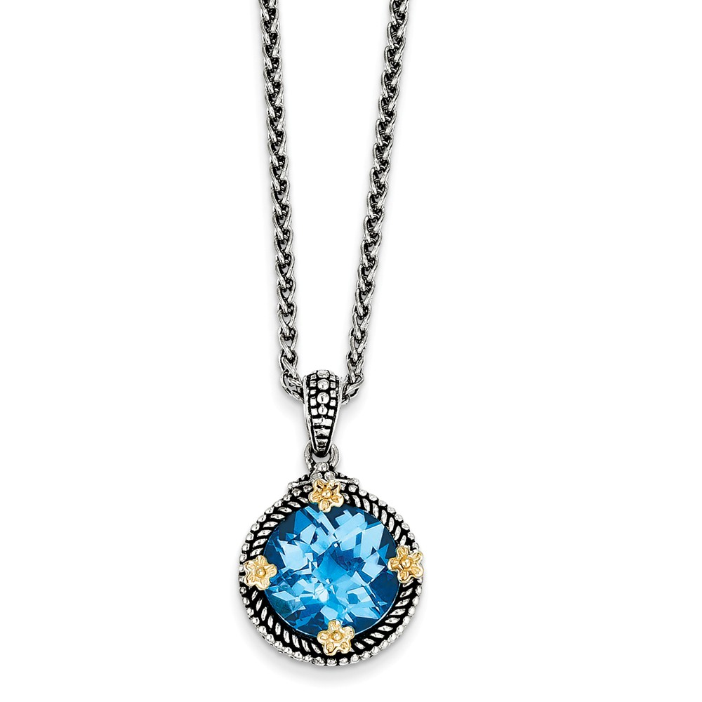 "14K Yellow Gold with Swiss Blue Simulated Topaz Necklace -18"" (18in) by"