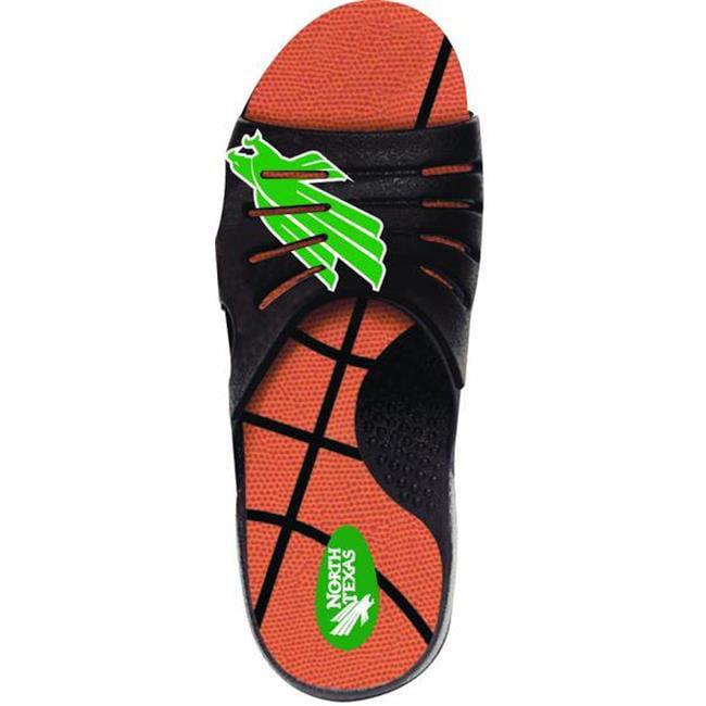 Jukz Sports NT-BK01-L North Texas Mean Green Basketball Unisex Sports Slides, Large