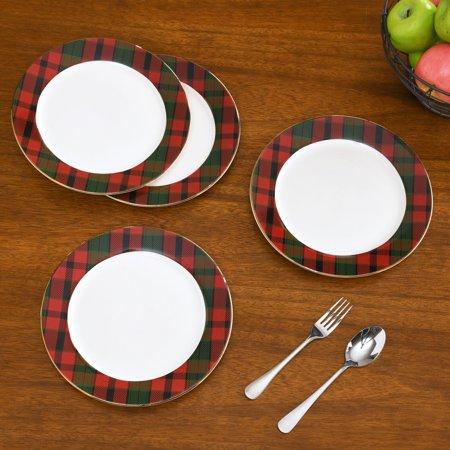 Better Homes & Gardens Plaid Microwave & Dishwasher Safe Ceramic Dinner Plate Set, 4 Count