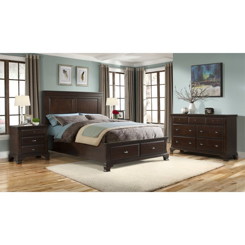 Picket House Furnishings Brinley 5 Piece King Bedroom Set in Cherry