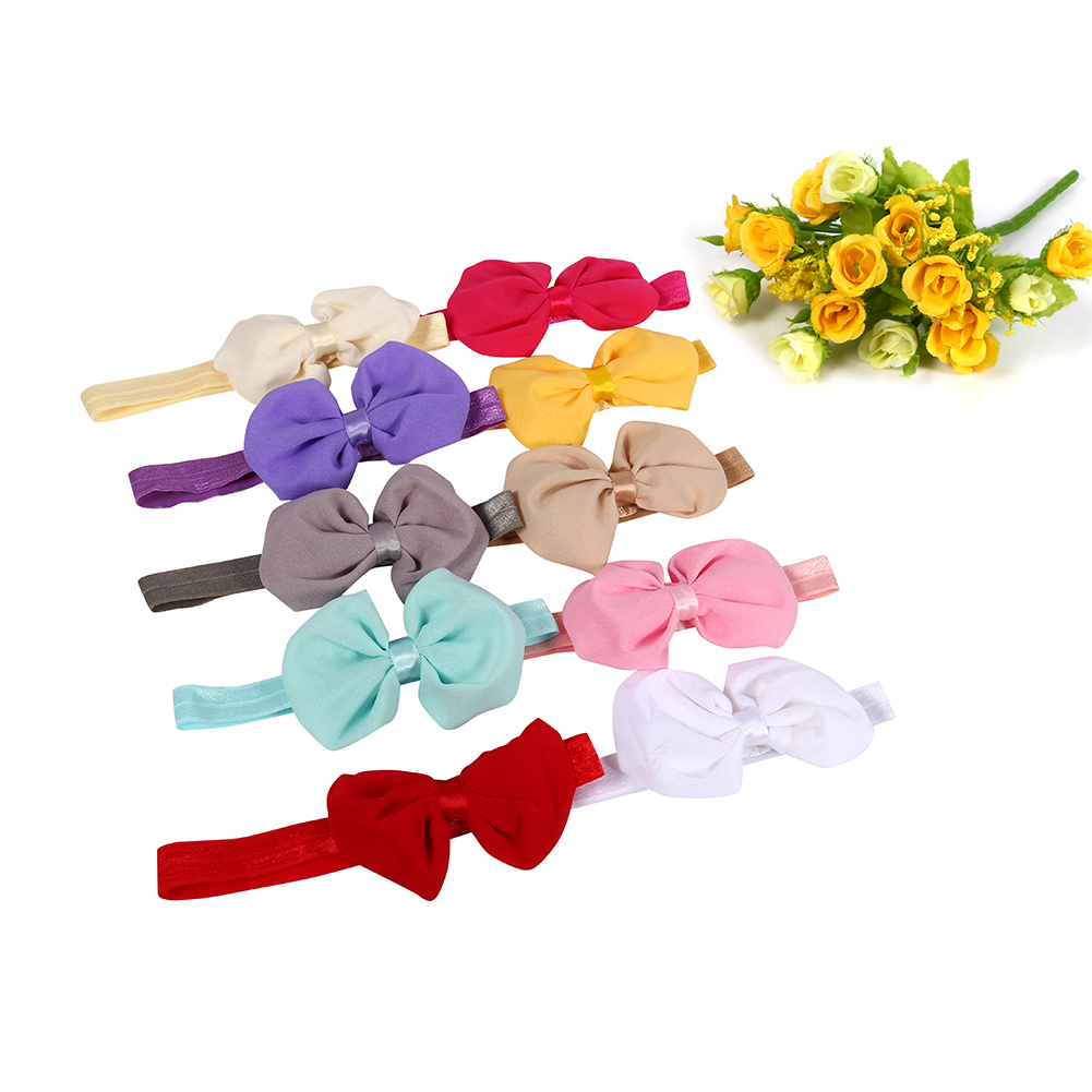Tbest 10pcs Cute Baby Headband Fabric Bowknot Flower Headwear Hairband Accessories for Toddler Kids,Headband, Hair Wrap