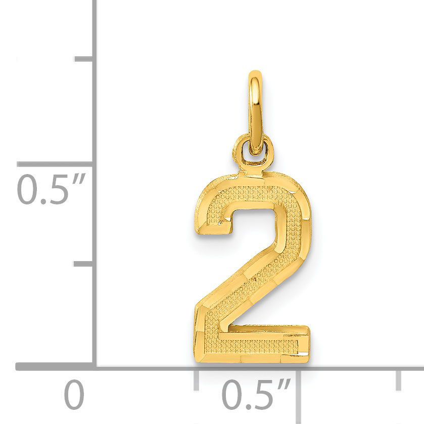 14k Yellow Gold Casted Small Number 2 Pendant Charm Necklace Sport Fine Jewelry
