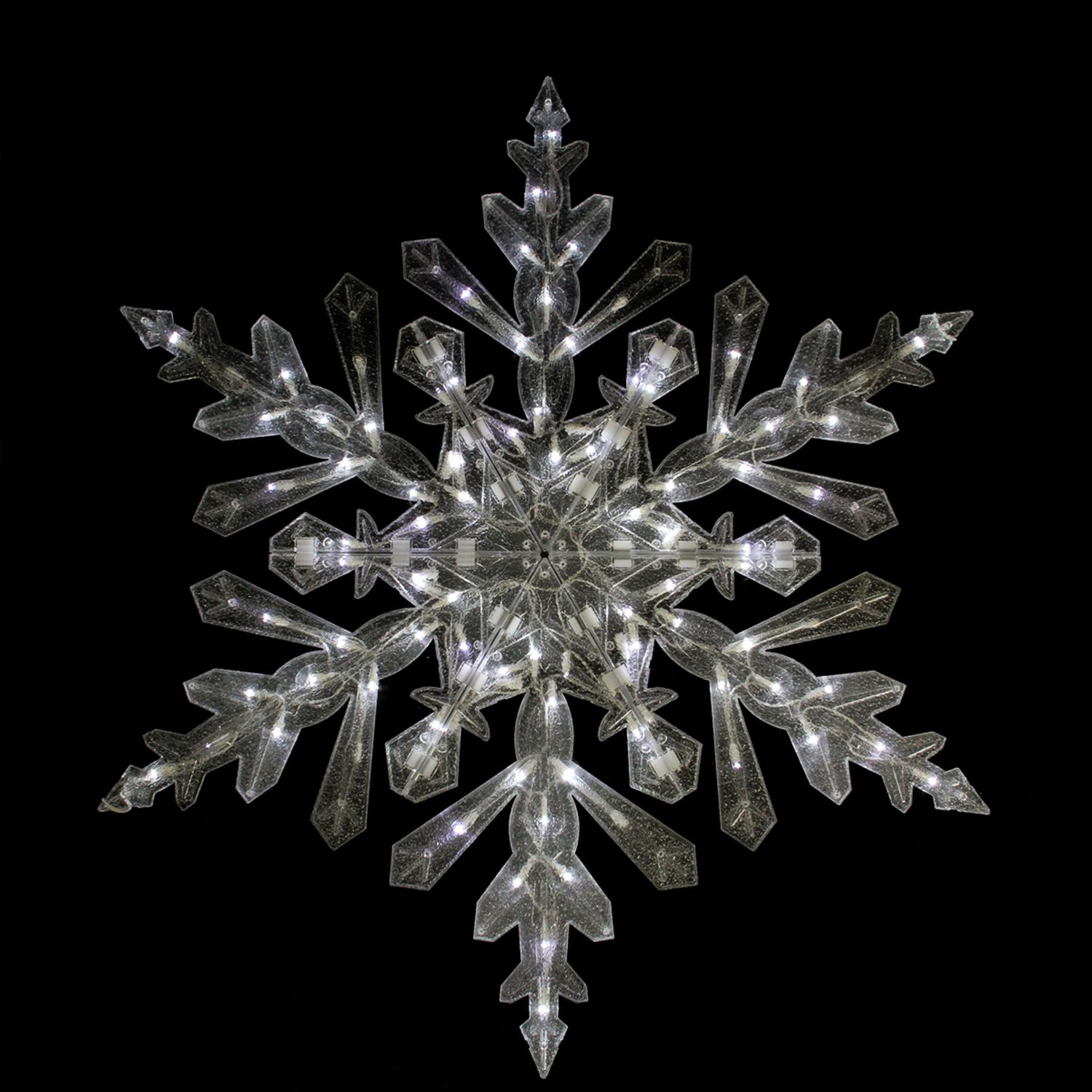 "48"" Twinkling Cool White LED Lighted Translucent Snowflake Christmas Yard Art"