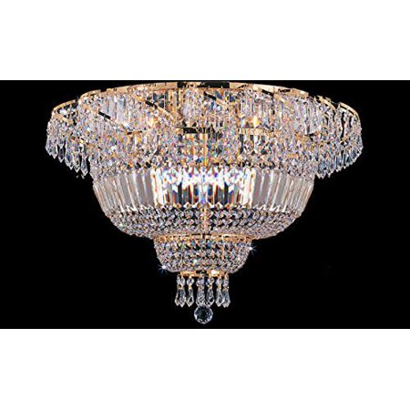 "Gallery T22-2740 Gold 9 Light 24"" Wide Flush Mount Waterfall Ceiling Fixture"