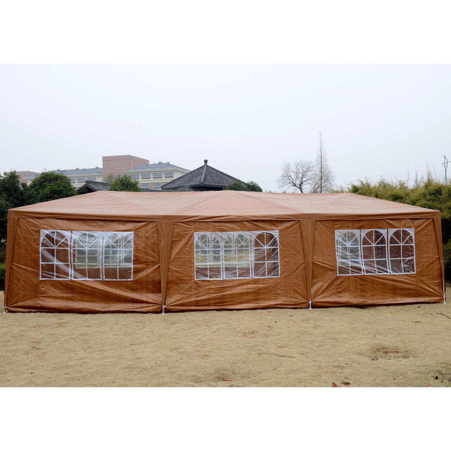 Outunny 10' x 30' Gazebo Canopy Party Tent w/ Removable Side Walls - Coffee