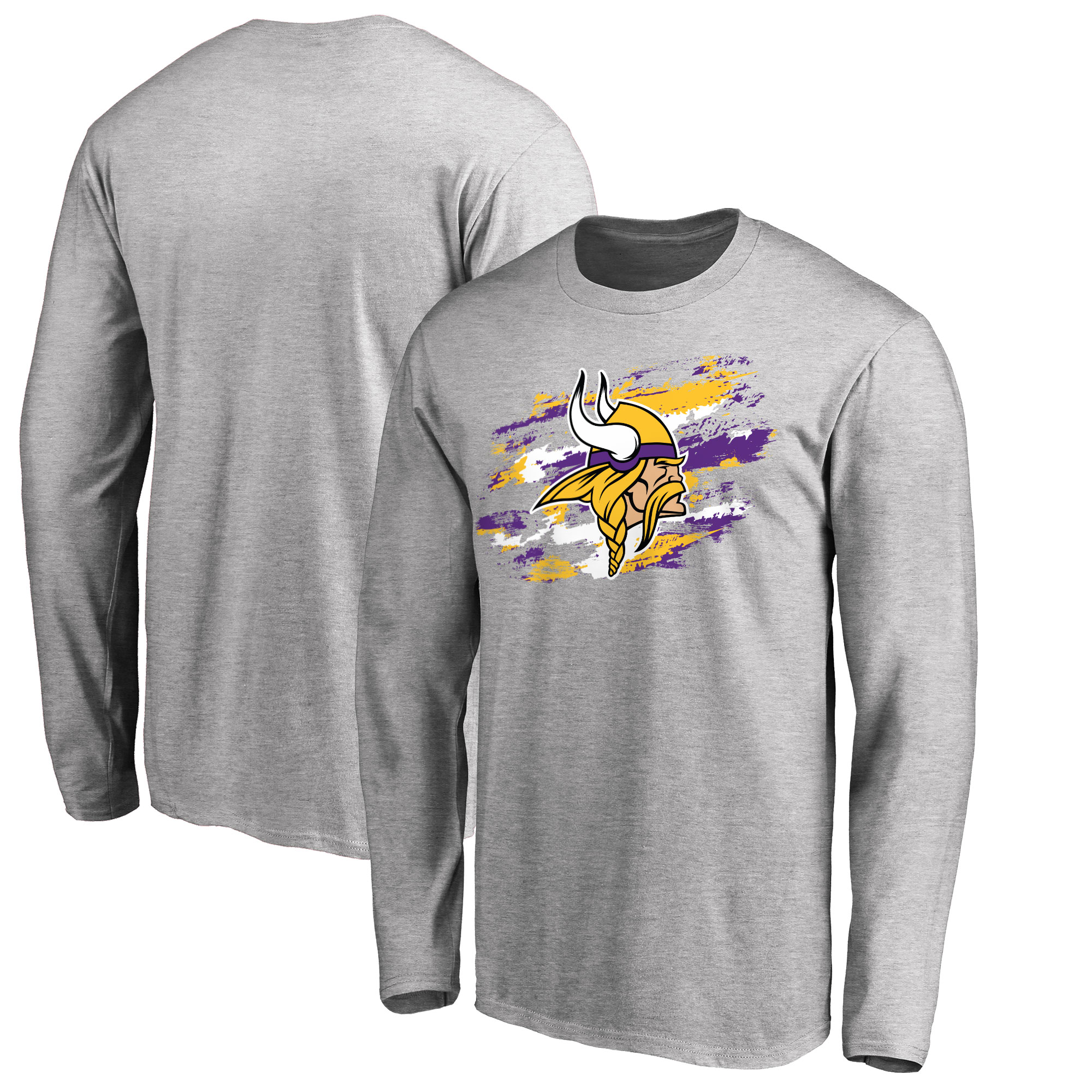 Men's NFL Pro Line Heathered Gray Minnesota Vikings True Colors Long Sleeve T-Shirt