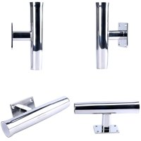 Amarine Wall Mounted Stainless Steel Tournament Style Single Rod Holder, Transom Mounted - 90 Degree