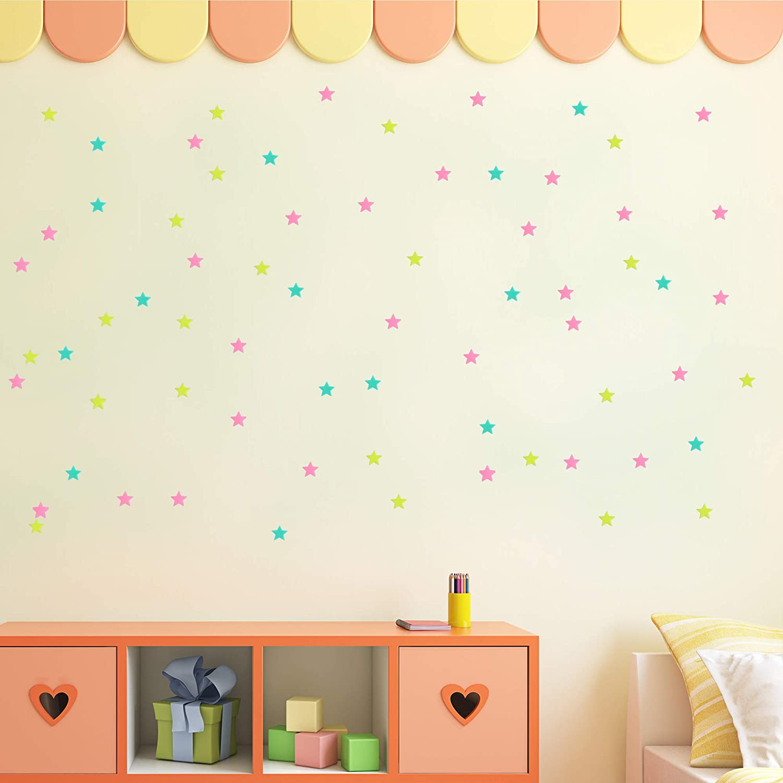nuoshen Glow in The Dark Stickers 200 PCS Luminous Dots Stars Fluorescent Stars Sticker for Nursery Baby Kids Bedroom Living Room Decoration