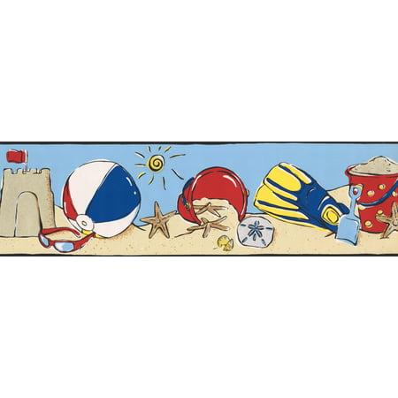 Beach Sand Castle Ball Sunglasses Shovel Sun Cerulean Blue Wallpaper Border for Kids Bedroom Bathroom, Roll 15' x 7'' - image 2 de 3