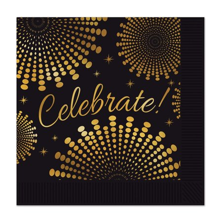 Club Pack of 96 Black and Gold 'Celebrate' Graduation Themed Napkins 5