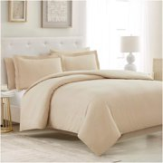 Mellanni Duvet Cover Set Queen 5-Piece - Soft Double Brushed Microfiber Bedding with 2 Shams and 2 Pillowcases - Button Closure and Corner Ties - Wrinkle, Fade, Stain Resistant (Beige, Full / Queen)