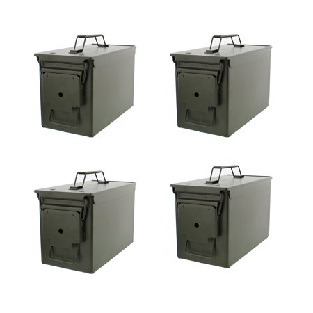 50 Cal Metal Ammo Can 4-Pack – Military Steel Box Shotgun Rifle Gun Ammo  Storage
