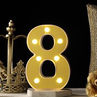 """BalsaCircle 6"""" tall Gold Marquee Warm White LED Lighted Sign Wedding Event Graduation Party Events Decorations  Supplies"""