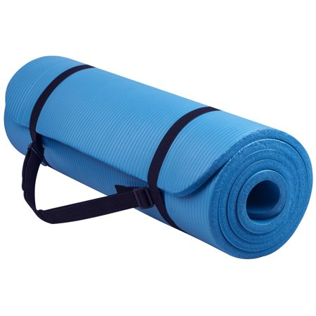 Everyday Essentials All-Purpose 1/2-Inch High Density Foam Exercise Yoga Mat Anti-Tear with Carrying Strap, Blue