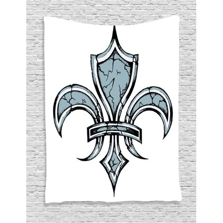 Fleur De Lis Decor Wall Hanging Tapestry, Grungy Lily Retro Renaissance Spirit Element Victory Holy Artwork Print, Bedroom Living Room Dorm Accessories, By Ambesonne
