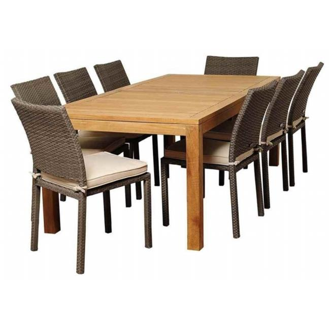 SC RINRECTBIG-8LIB GROW Damian 9 Piece Teak & Wicker Rectangular Patio Dining Set with Off-White Cushions