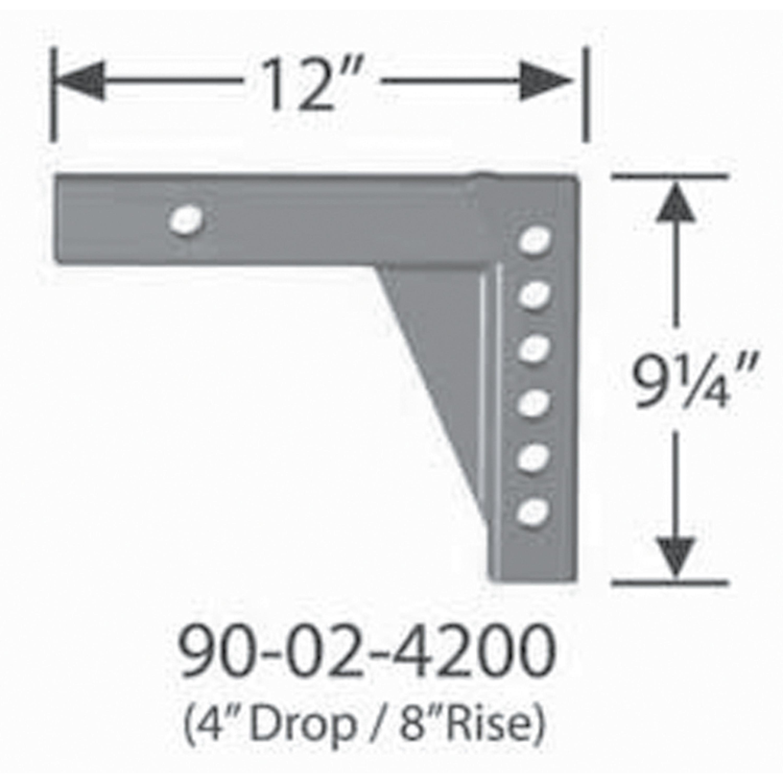 Adjustable Shank L12 Fastway 90-02-4200 4 Drop//8 Rise x 12 Length