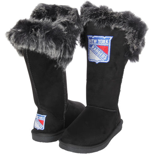 Women's Cuce Black New York Rangers Devoted Boots by Cuce Shoes