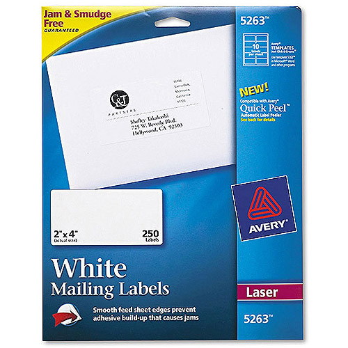 "Avery Laser Shipping Labels with TrueBlock Technology, White 2"" x 4"", Pack of 250"