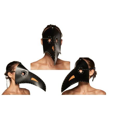 Black Plague Mask (Adult size Faux Leather Plague Doctor Mask - Dr Peste - 2 colors - Black or)