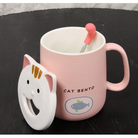 Ebros Whimsical Kitty Cat Bento Porcelain Coffee Tea Mug Drink Cup With Tongue Shaped Handle Spoon And Smiling Face Lid 14oz Kittens Or Cats Mugs For Kids and Adults (Pastel Pink) ()