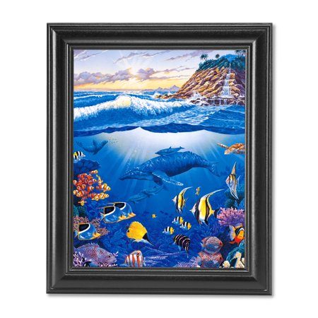 Waterfall Paradise Ocean Fish Whale and Sea Turtle Wall Picture Black - Black Sea Turtle