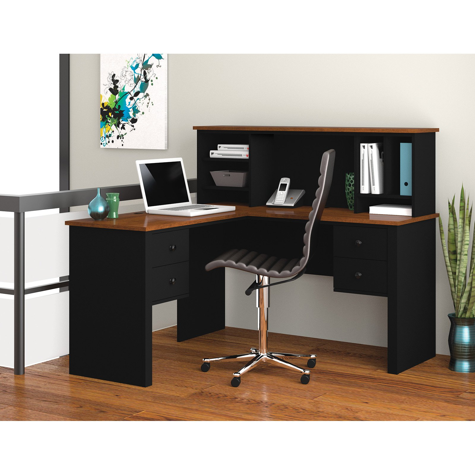 Somerville L Shaped Desk With Hutch In Black Tuscany Brown Com