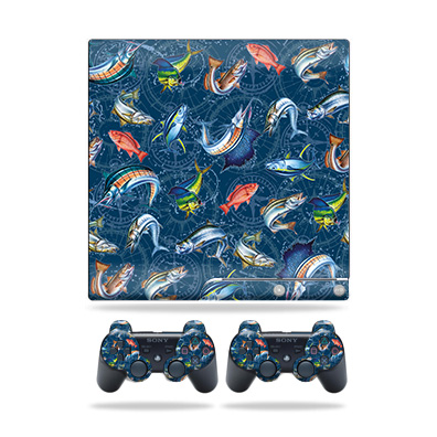 Skin Wrap for Sony Playstation 3 PS3 Slim + 2 controllers Saltwater Compass
