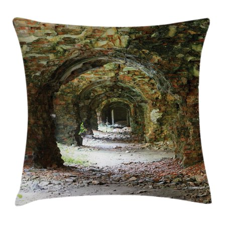 Rustic Home Decor Throw Pillow Cushion Cover, Ruins of Arched Medieval Period Brick Tunnel Architecture Heritage Design, Decorative Square Accent Pillow Case, 16 X 16 Inches, Grey Red, by Ambesonne