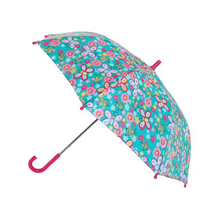 Size one size Girl's Butterfly and Bee Print Hook Handle (Butterfly Umbrella)