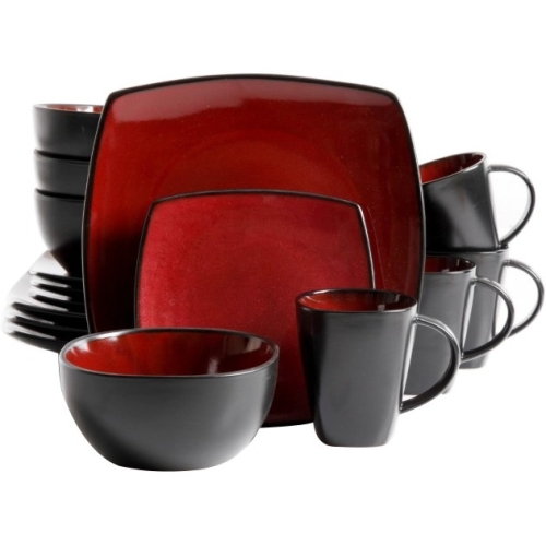 "Gibson Home Soho Lounge 16-Piece Dinnerware Set, Red - Dinner Plate, Dessert Plate, 6.25"" Diameter Bowl, 12 fl oz Mug - Stoneware - Dishwasher Safe - Microwave Safe - Red, Burgundy, Black - Reactive G"