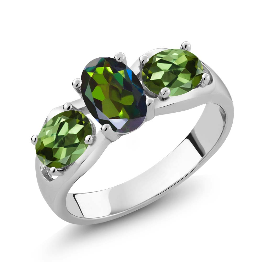 1.80 Ct Oval Forest Green Mystic Topaz Green Tourmaline 14K White Gold Ring by