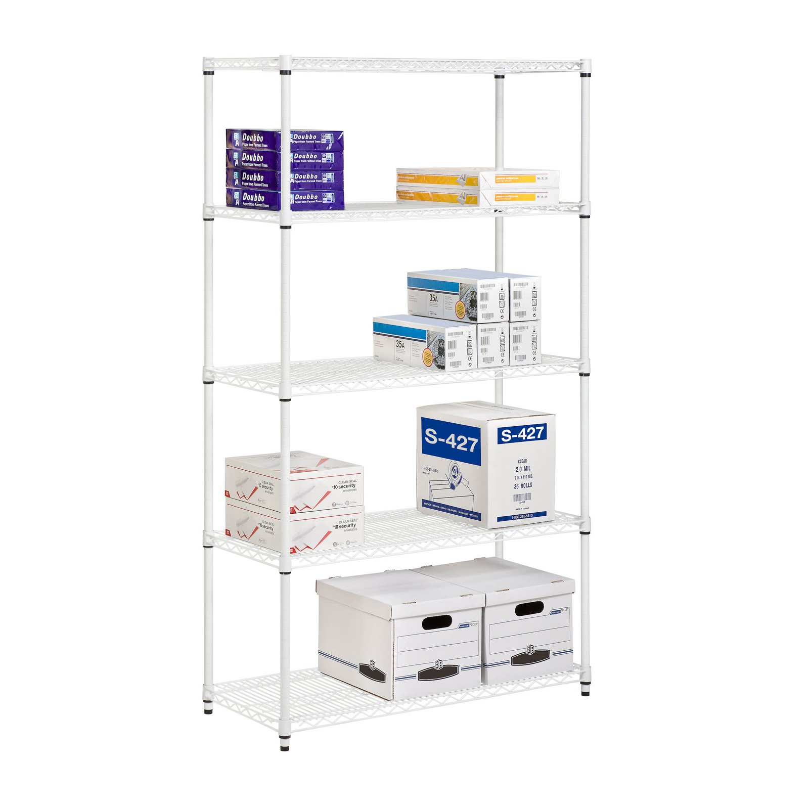 Honey Can Do 5-Shelf Steel Storage Shelving Unit, White