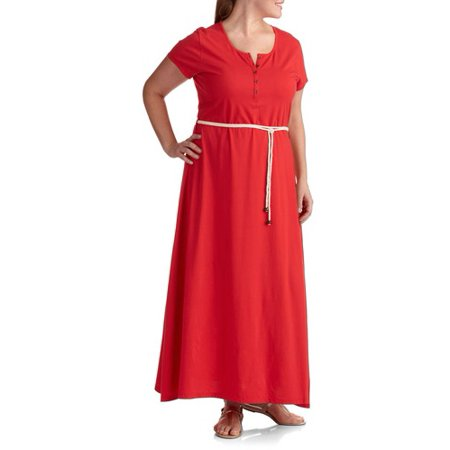 Faded Glory - Faded Glory Women\'s Plus-Size Henley Maxi Dress with ...