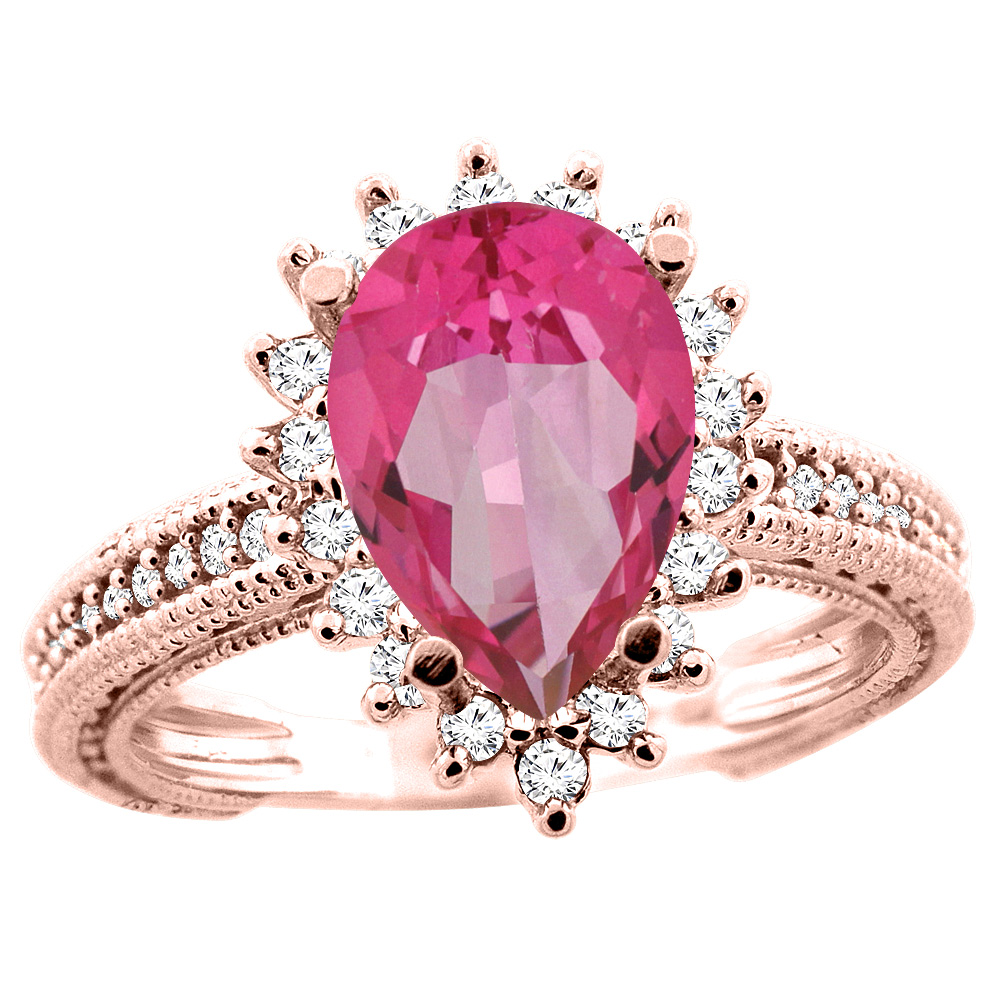 14K Rose Gold Natural Pink Topaz Ring Pear 12x8mm Diamond Accent ...