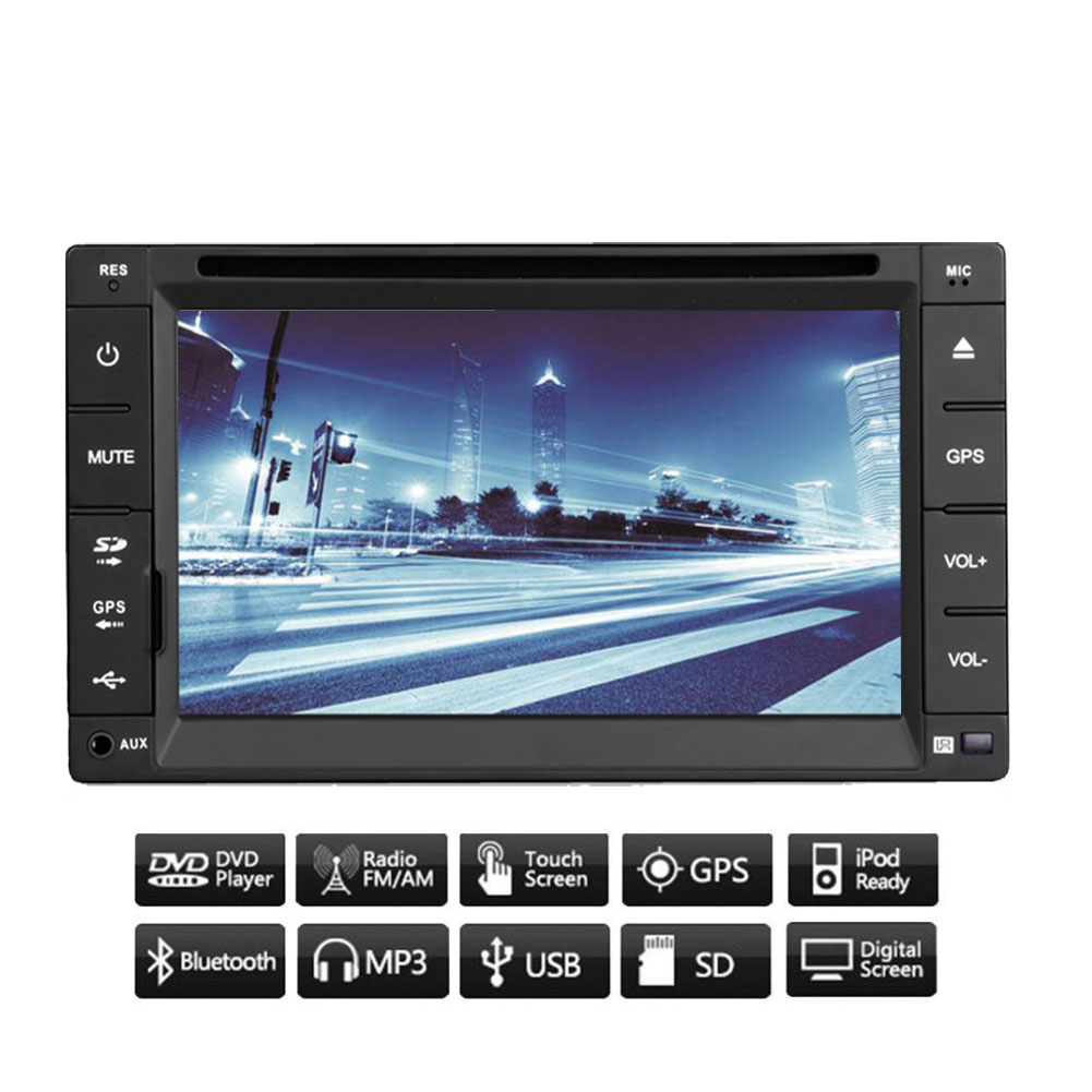 EinCar 6.5'' inch Double 2 Din Car DVD Player in Dash GPS Navigation Mechless FM/AM Radio Receiver Automotive Video Audio with 8GB GPS Map Card and Autoradio Bluetooth iPod