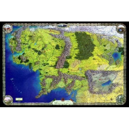 Middle Earth Map Large.Middle Earth Map Poster Walmart Com