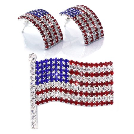 cocojewelry 4th of July American Flag Brooch Pin Earrings Set Independence Day Gift