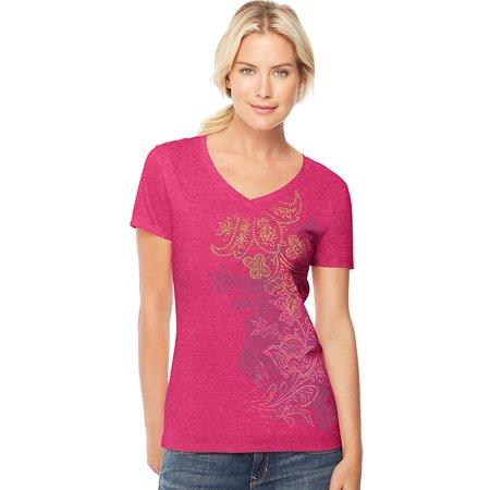 54be61e6 Hanes - Women's Short-Sleeve V-Neck Graphic T-Shirt - Walmart.com