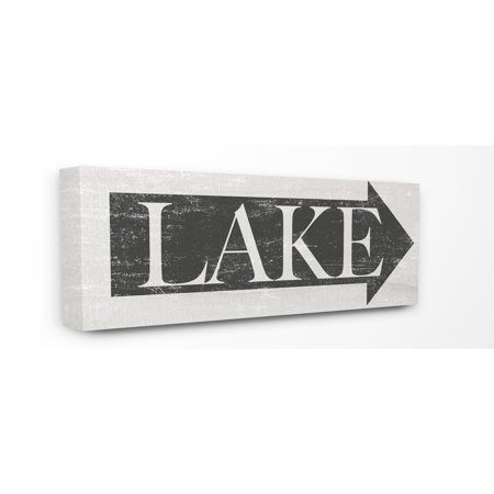 Stupell Lake Arrow Sign Grey and White Distressed Canvas Art, 10 x 24