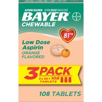 Bayer Chewable Aspirin Regimen Low Dose Pain Reliever Tablets, 81mg, Orange, 108 Ct