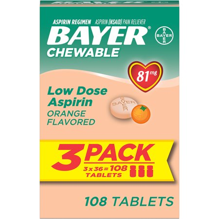 Low Price Online (Bayer Chewable Aspirin Regimen Low Dose Pain Reliever Tablets, 81mg, Orange, 108)