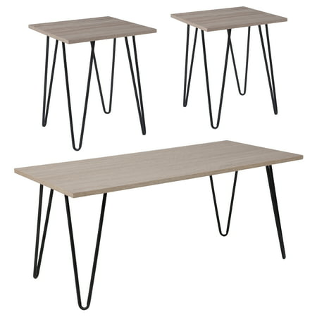 Oak 3 Grain (Oak Park Collection Flash Furniture 3 Piece Coffee and End Table Set in Driftwood Wood Grain Finish and Black Metal Legs)