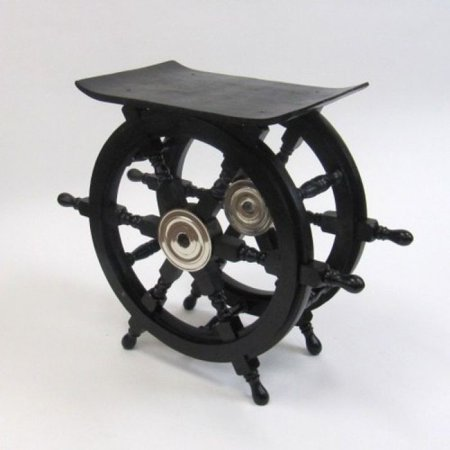 India Overseas Trading Sh8963a   Wooden Pirate Ship Wheel Table With Aluminum Hub