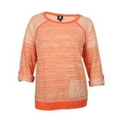 Jones New York Sport Women's Melange Striped Crew Tunic Sweater (0X,Coral)